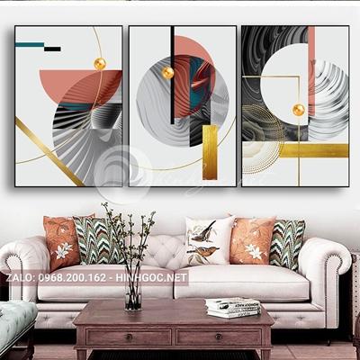 Tranh trừu tượng, bộ 3 bức, hình line art và quả cầu tròn-E-533