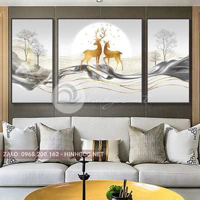 Tranh con hươu, bộ 3 bức, hươu đứng dải vân sọc vàng kim-E-565