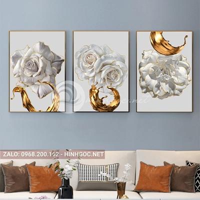 Tranh treo tường, bộ 3 bức, bông hoa viền vàng kim nở đẹp-E-629