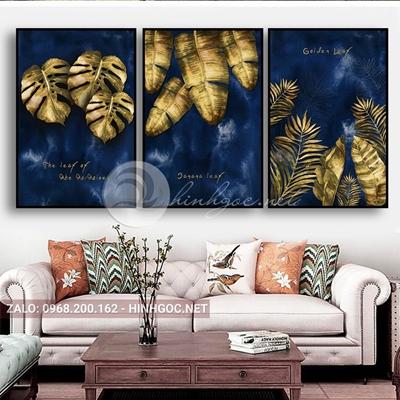 Tranh hoa lá, bộ 3 bức, lá rùa vàng-E-636