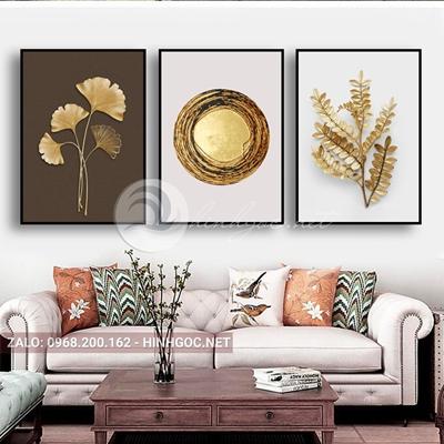 Tranh hoa lá, bộ 3 bức, chiếc lá vàng đẹp-E-638