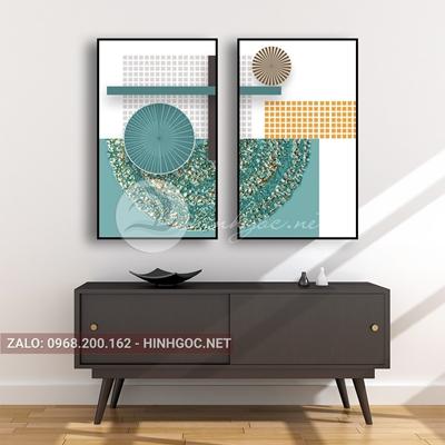 Tranh trừu tượng, bộ 2 bức, hình line art và họa tiết tròn-E-669