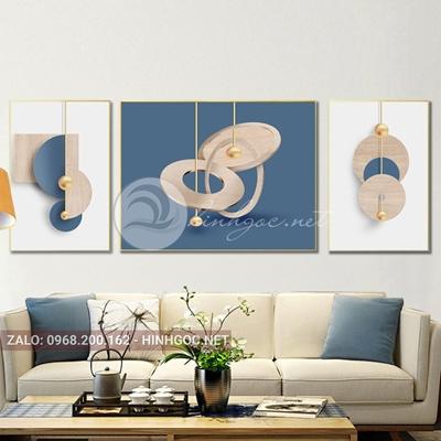 Tranh trang trí, bộ 3 bức hình line art độc đáo-F-030