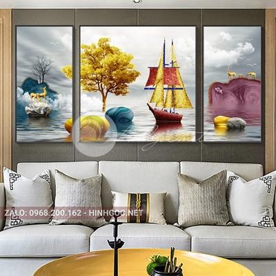 Tranh trang trí, bộ 3 bức hươu, đá cuội, thuyền-F-074