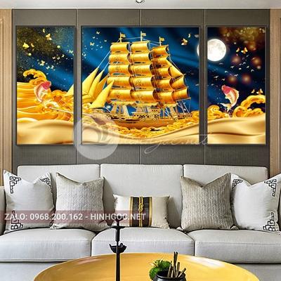 Tranh thuận buồm xuôi gió, bộ 3 bức thuyền vàng và cá chép-F-083