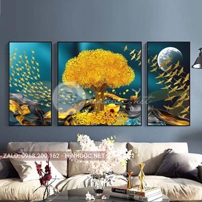 Tranh trang trí, bộ 3 bức tranh hiện đại cây tuần lộc và chim vàng-F-093