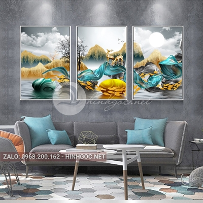 Tranh trang trí, bộ 3 bức hươu đứng trên dải vân, cây-F-098