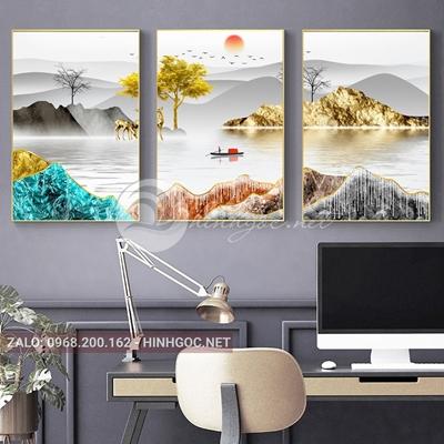 Tranh trang trí, bộ 3 bức ghép hươu,dải vân, cây đẹp-F-112