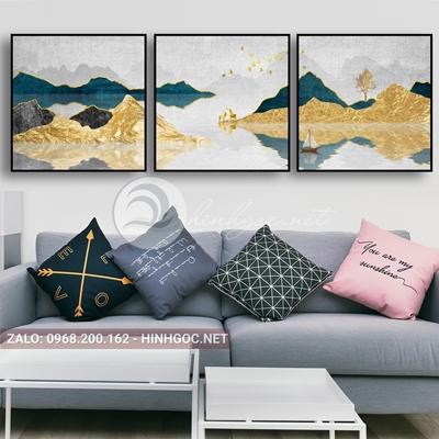 Tranh trang trí, bộ 3 bức ghép hươu, dãy núi vàng-F-113