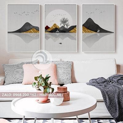 Tranh con hươu, bộ 3 bức hươu và dãy núi trùng điệp -F-282
