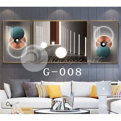 Tranh bộ 3 bức, hình line art đẹp-G-008