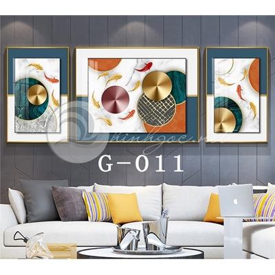 Tranh bộ 3 bức, đàn cá vàng vui vẻ-G-011