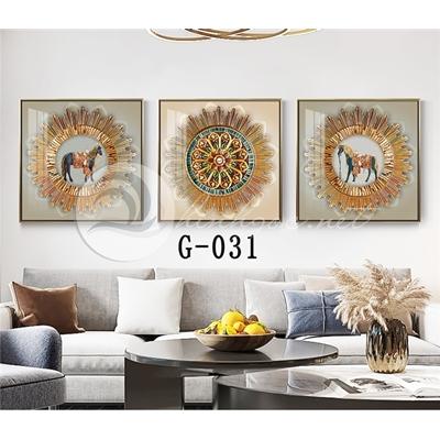Tranh bộ 3 bức, con ngựa và hình họa tiết-G-031