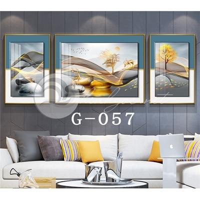 Tranh bộ 3 bức, hươu đứng trên dải vân nghệ thuật-G-057