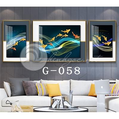 Tranh bộ 3 bức,  cửu ngư quần hội hiện đại-G-058
