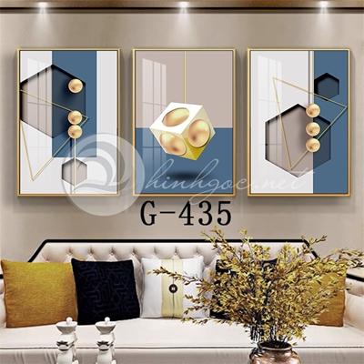 Tranh bộ 3 bức, quả lắc tròn và hình line art nghệ thuật-G-435
