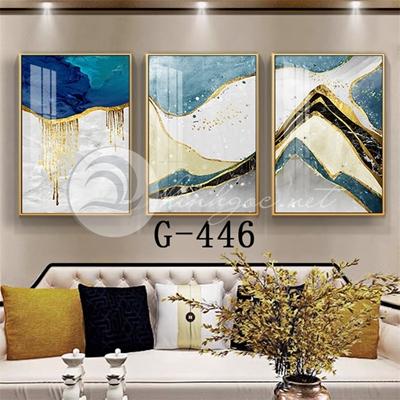 Tranh bộ 3 bức, tranh trừu tượng  và dải vân sắc màu viền vàng-G-446
