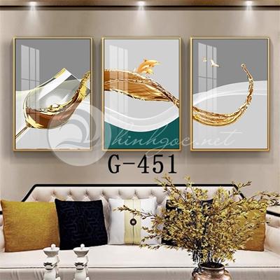 Tranh bộ 3 bức, tranh ẩm thực, chiếc ly, dải vân nghệ thuật-G-451