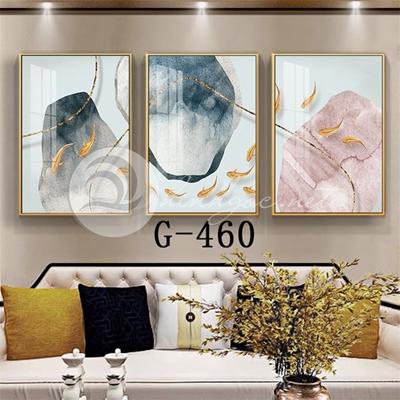 Tranh bộ 3 bức, đàn cá vàng vui vẻ-G-460
