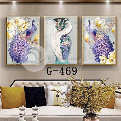 Tranh bộ 3 bức, tranh chim công và hoa mẫu đơn-G-469