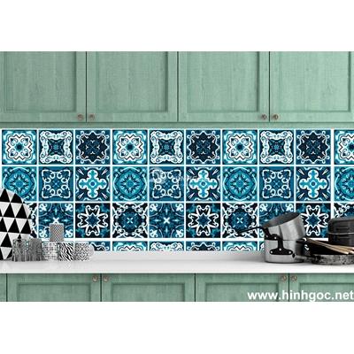 Decal gạch bông sắc màu xanh dương-GB02-51