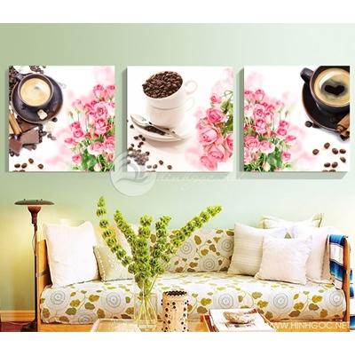 Tranh bộ tách cafe và hoa hồng - GEN29