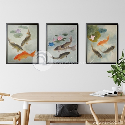 Tranh bộ 3 bức cá chép và hoa sen-GPD109