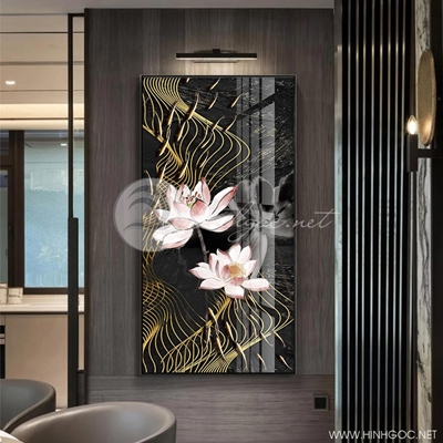 Tranh hoa sen và đàn cá trừu tượng-GPD26