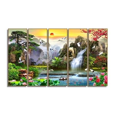 Tranh bộ 5 bức tranh thiên nhiên đẹp-GPD43