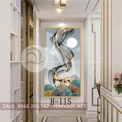 Tranh con hươu đứng trên dải vân nghệ thuật-H-115