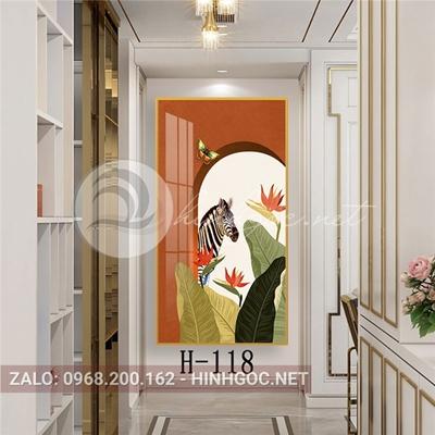 Tranh con ngựa vằn và hoa lá đẹp-H-118