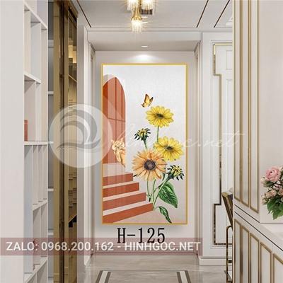 Tranh hoa hướng dương và con mèo đẹp-H-125