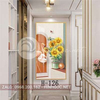 Tranh hoa hướng dương và chim hồng hạc-H-126
