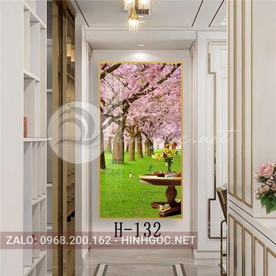 Tranh phong cảnh thiên nhiên vườn hoa anh đào nở và bàn tiệc-H-132