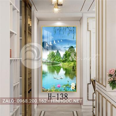 Tranh phong cảnh biển hoa sen trên sông đẹp và chim thiên nga-H-138