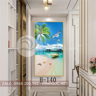 Tranh phong cảnh biển cánh chim bình yên và sao biển-H-140