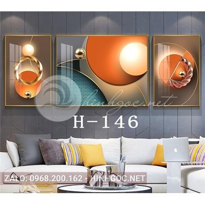Tranh bộ 3 bức, trừu tượng nghệ thuật hình line art-H-146