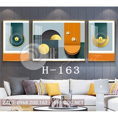 Tranh bộ 3 bức, trừu tượng nghệ thuật line art-H-163
