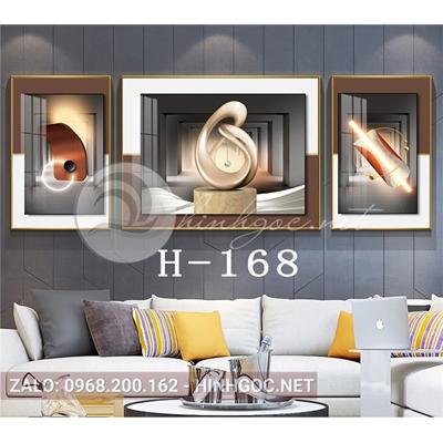 Tranh bộ 3 bức, trừu tượng nghệ thuật hình line art-H-168