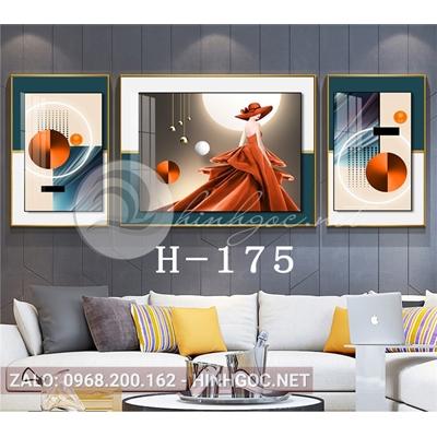 Tranh bộ 3 bức, thời trang chân dung cô gái và line art-H-175