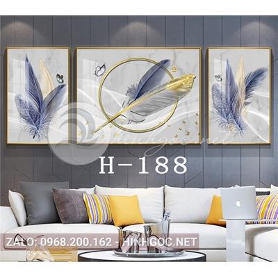 Tranh bộ 3 bức, tranh lông vũ sắc màu đính ngọc-H-188