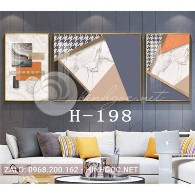 Bộ 3 tranh trừu tượng nghệ thuật line art-H-198