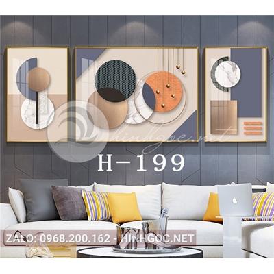 Bộ 3 tranh trừu tượng nghệ thuật line art độc đáo-H-199