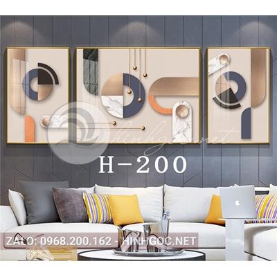 Bộ 3 tranh trừu tượng nghệ thuật line art-H-200