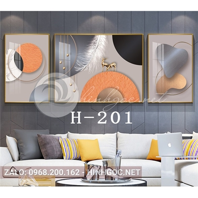 Bộ 3 tranh trừu tượng nghệ thuật line art-H-201