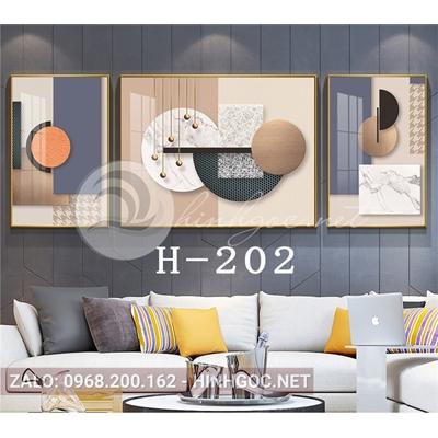 Bộ 3 tranh trừu tượng nghệ thuật line art ấn tượng-H-202