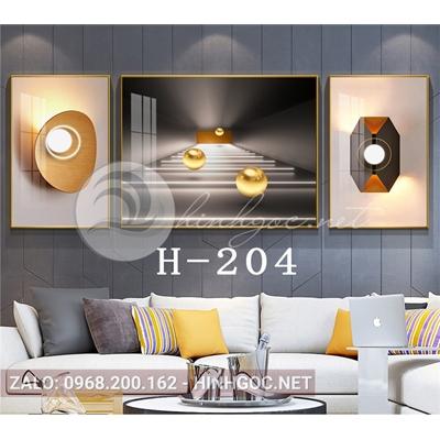 Bộ 3 tranh trừu tượng nghệ thuật line art-H-204