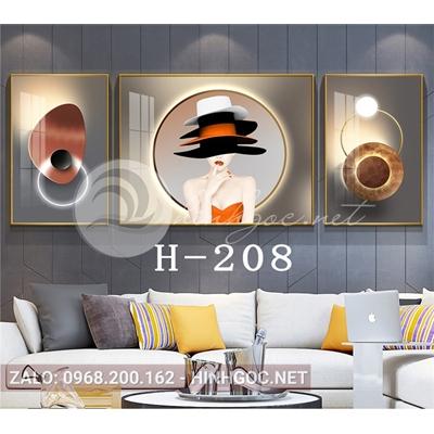 Bộ 3 tranh chân dung thời trang cô gái và hình line art-H-208
