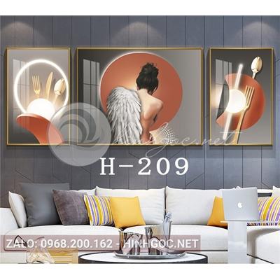 Bộ 3 tranh chân dung cô gái lông vũ và hình line art-H-209