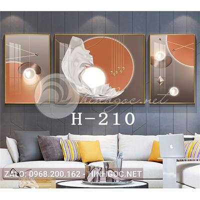 Bộ 3 tranh trừu tượng hình line art-H-210